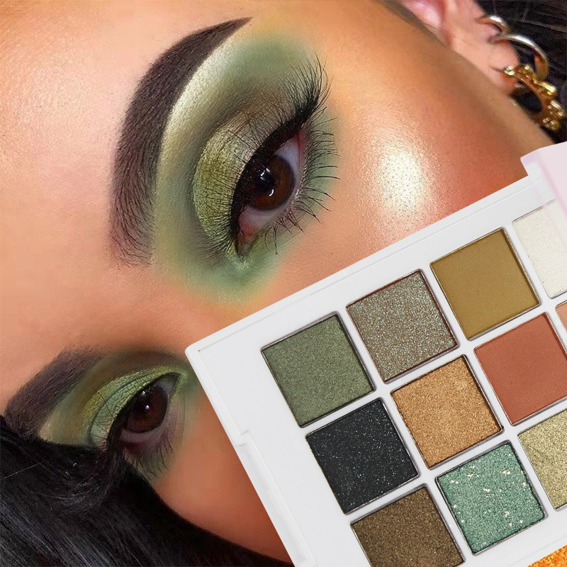 12 цветная водостойкая палитра зеленых теней для век, стойкая сияющая Матовая Тени для век, макияж для глаз Тени для век      АлиЭкспресс