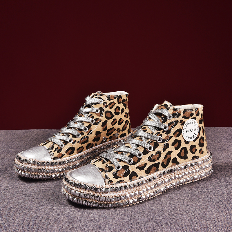 2019 New Women Sneakers Sexy Leopard Print Fashion Rivets Women Canvas Shoes Leisure Lace-up Low High Top Sneakers Basket Femme