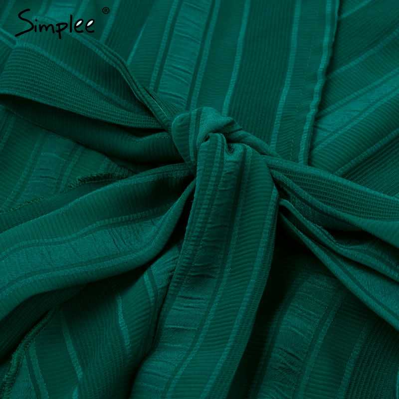 Simplee 女性のセクシーな v ネックストライプパーティードレスエレガントなランタンフリル長袖ドレスハイウエスト女性秋冬ドレス