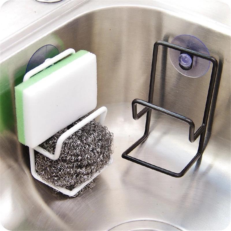 Kitchen Suction Cup Sink Drain Rack Wall Sucker Sponge Storage Drying Holder