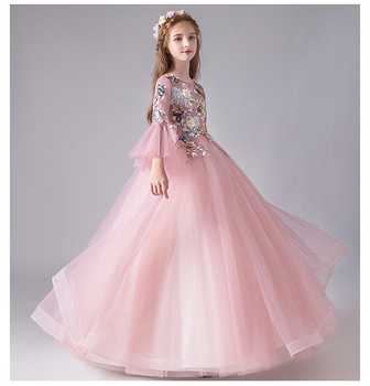 Appliques Pink Tulle Flower Girl Dress For Wedding Party Dress Flare Sleeve Princess Birthday Prom Gown First Communion Dresses