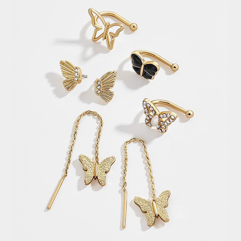 7pcs/set New Design Butterfly Wings Gold Stud Earrings for Women Trendy Long Chain Rhinestone Earrings Small Earcuffs Jewelry image