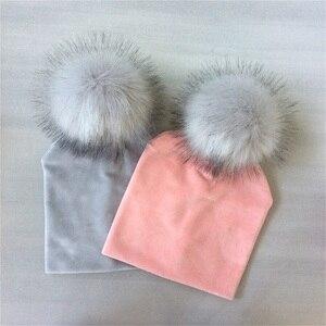 Outono inverno crianças meninas sólido chapéu de veludo com pompom gorro do bebê boné pompom acessórios para crianças