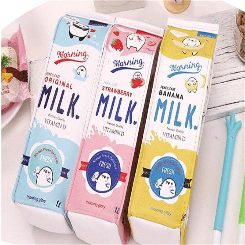 Pencil Writing Case Pen Bag Box Novelty Korean PU Waterproof Simulated Milk Carton Large Capacity Creative Stationery Girls Boys