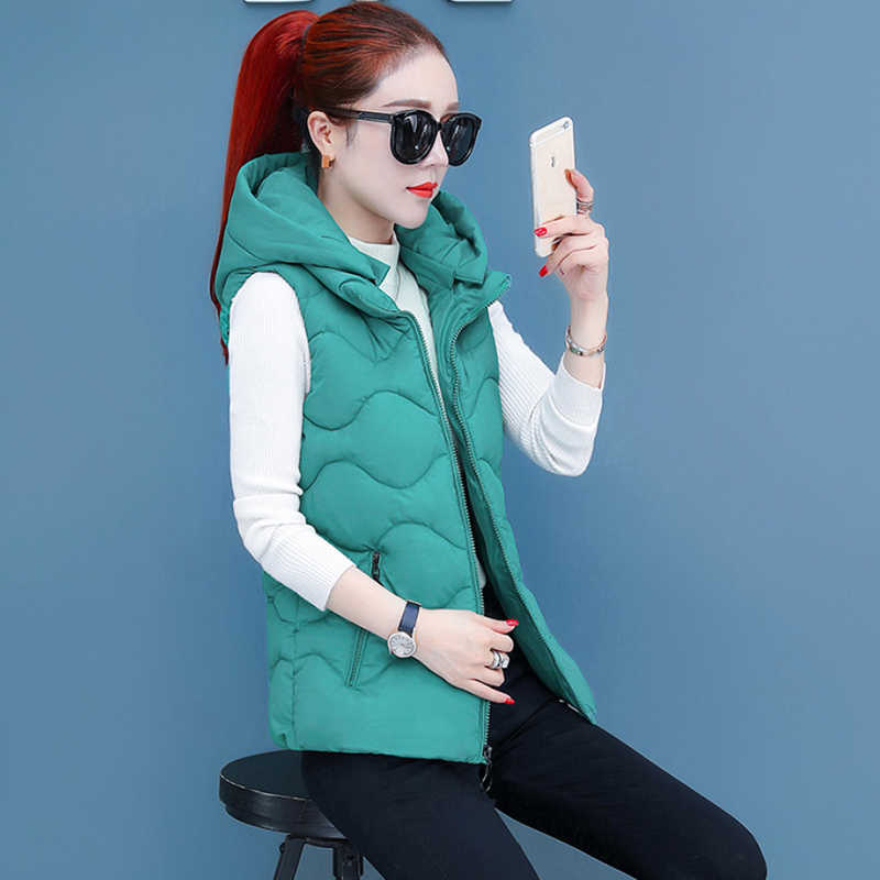 Blue/Red/Black/Green Color Female Wadded Thick Vest Jackets Winter Warm Solid Color Hooded Women's Waistcoats Ladies Outwear