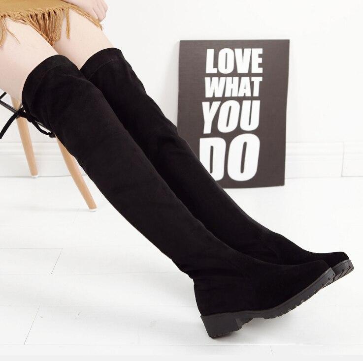 SLYXSH ต้นขาสูงรองเท้าหญิงฤดูหนาวรองเท้าผู้หญิงกว่าเข่าบู๊ทส์แบนยืดเซ็กซี่แฟชั่นรองเท้า 2019 สีดำ