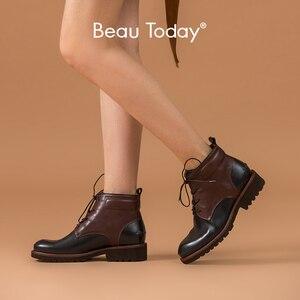 Image 1 - Beautoday ankle boots feminino genuíno couro de vaca dedo do pé redondo laço up cores misturadas outono inverno senhora moda botas feitas à mão 03644