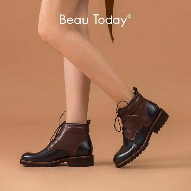 Beautoday ankle boots feminino genuíno couro de vaca dedo do pé redondo laço up cores misturadas outono inverno senhora moda botas feitas à mão 03644