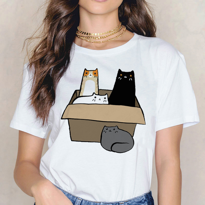 Women's T-shirt Lovely Cat Cartoon Graphic Print Short Sleeve O-Neck Casual T Shirt Fashion Fit Soft Tops Tee Female Clothes