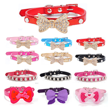 Bowknot Rhinestone Puppy Pet Dog Collars Harness Leash Collar for Small PU Leather Dogs Accessories