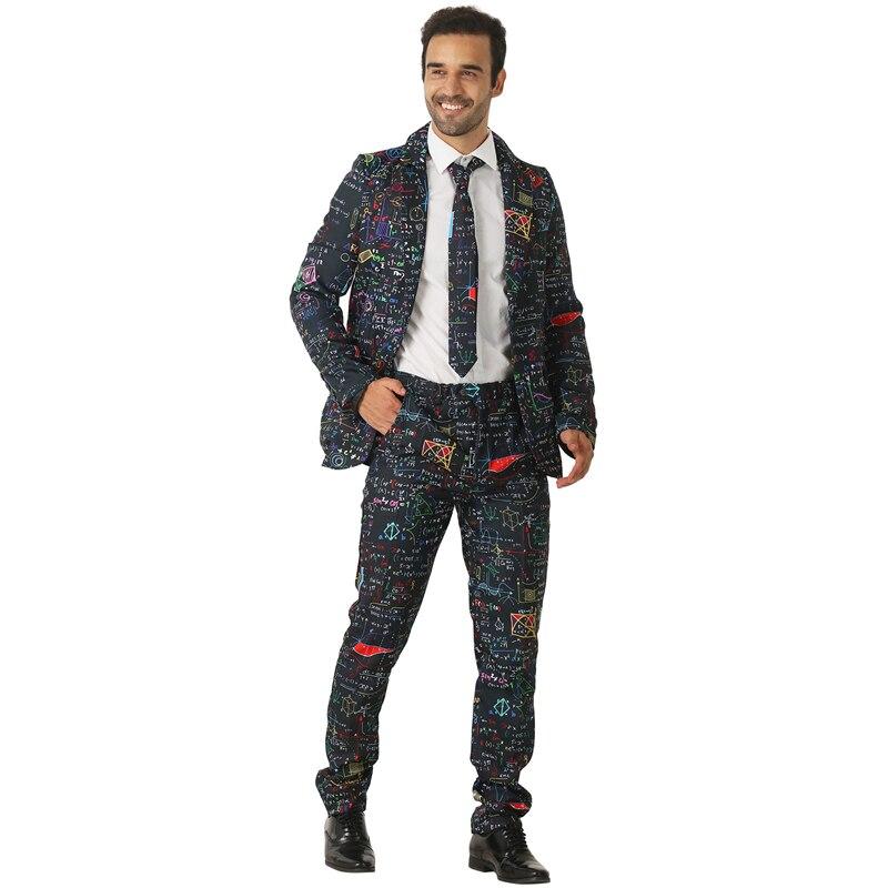 Haute qualité adulte multicolore mathématiques formule hommes équation physique élégant fantaisie Costume Halloween fête Cosplay Costume