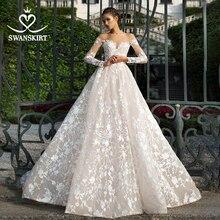 Appliques élégantes dentelle robe de mariée swanjupes I228 chérie à manches longues a ligne Illusion princesse robe de mariée robe de novia