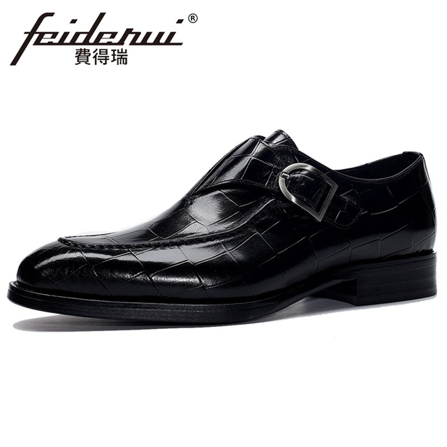 Nouveau luxe en cuir véritable hommes moine sangle bout pointu à la main homme appartements formelle robe Banquet chaussures pour Gentleman BQL216