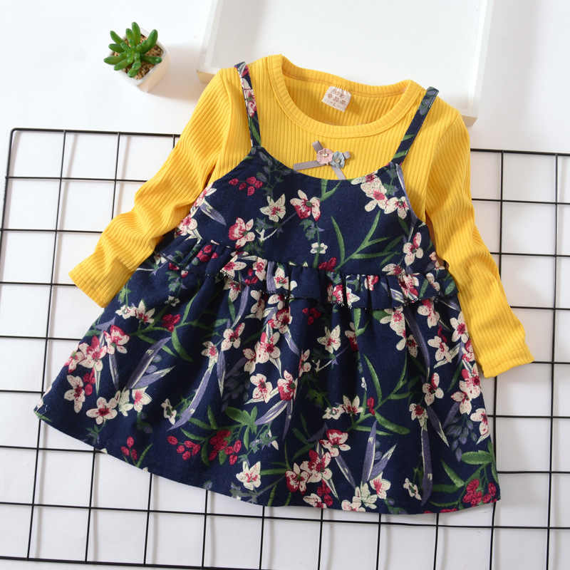 Autumn Girls Flower Printed Dress Children Cotton Princess Dresses Kids Girls Party Wedding Costumes Kids Baby Fashion Clothes