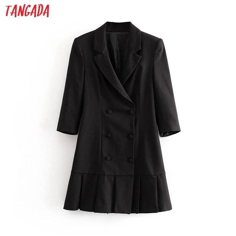 Tangada femmes élégant noir blazer robe demi manches 2019 vintage style femmes bureau dame mini robes vestidos 3H55