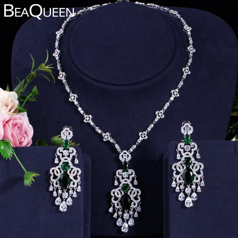 BeaQueen cristal vert Micro pavé CZ pierre grande pendaison boucles d'oreilles collier ensemble pour les femmes bijoux de mariage cadeau JS030