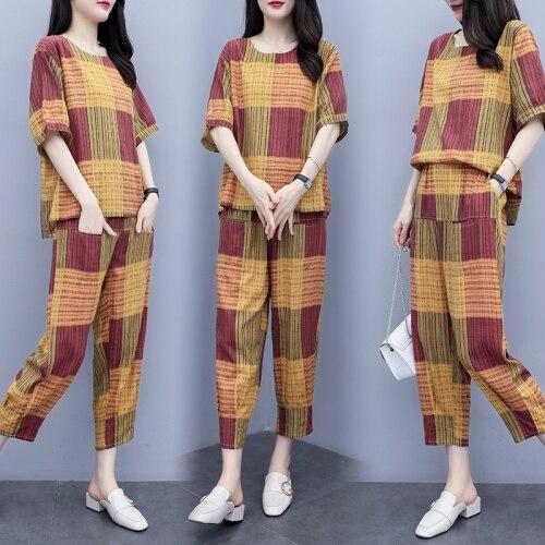 Plaid Women's Summer Suit Casual Ensemble Femm 2 Piece Sets Womens Outfits Korean Wholesale Clothing Women Set Tracksuit