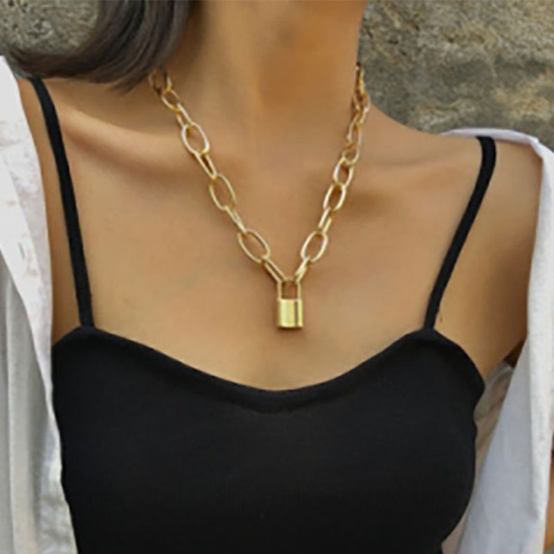 EN Multi Layer Lover Key Lock Pendant Choker Necklaces Punk Padlock Hiphop Chain Necklace Collier Couple Jewelry Gift