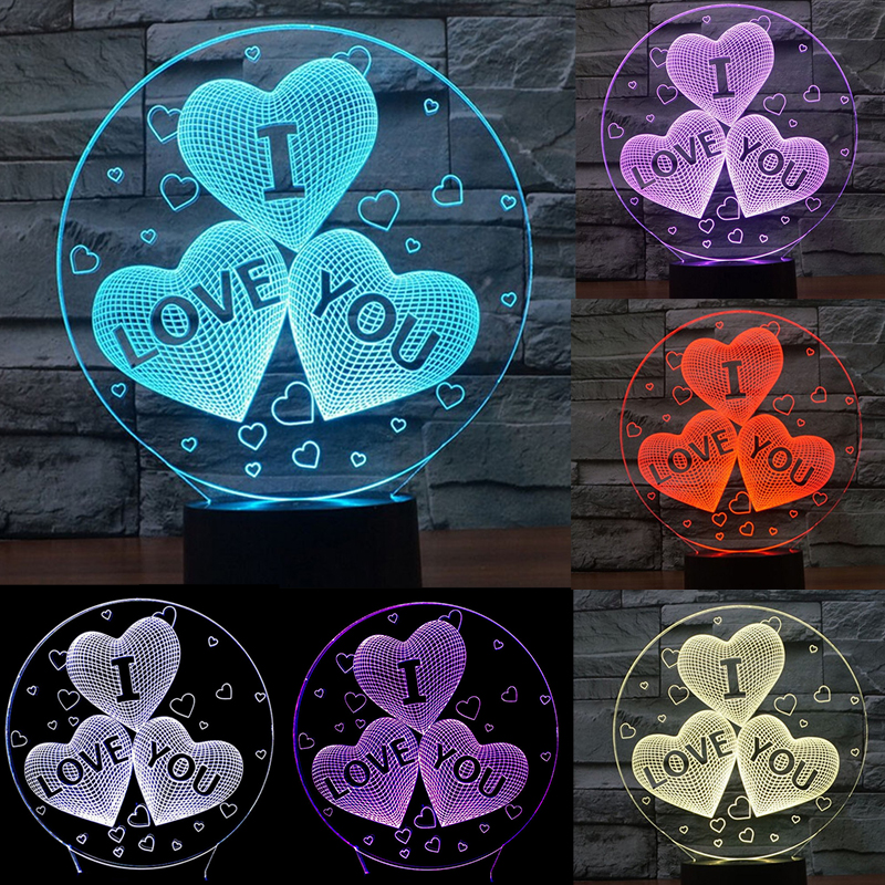 Valentines day Girlfriend Gift I LOVE YOU Colorful 3D Hologram Love Heart Stars Lamp Night light