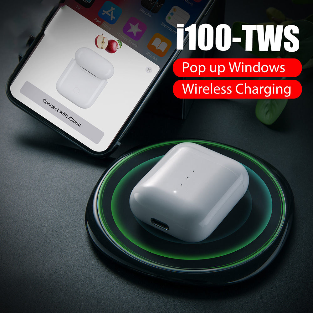 CASEIER i100 <font><b>TWS</b></font> <font><b>POP</b></font>-<font><b>UP</b></font> Bluetooth Wireless Earphones With Wireless Charging Box auriculares bluetooth inalambrico headphones image
