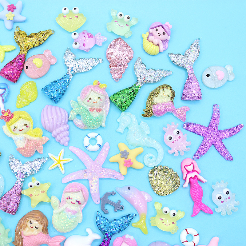 20/30/50Pcs Color Ocean Marine Mermaid Series Flatback Planar Resin Accessories DIY Crafts Supplies Phone Shell Decor Material(China)