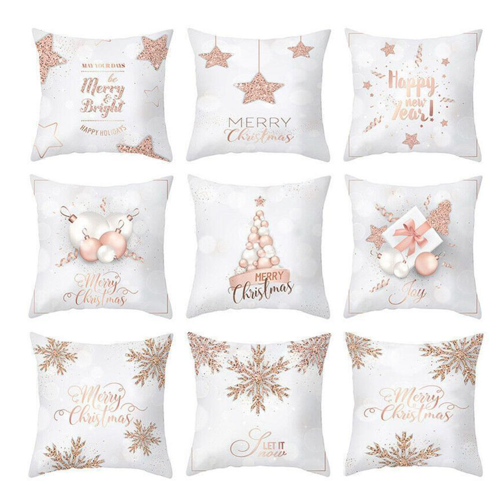 New Christmas Pillowcase Sofa Waist Throw Pillow Cover Rose Gold Printing Cushion Pillow Case Bedroom Office Home Decor 45x45cm
