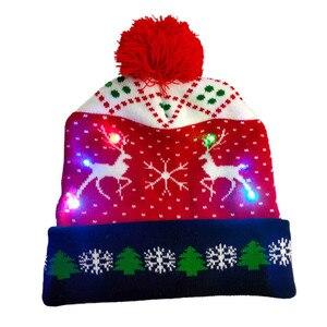 Led Light-up Christmas Hats Xmas Santa Hat Lights Flashing Cap Christmas Party Holiday Adult Hat Xmas Gift For New Year Decor