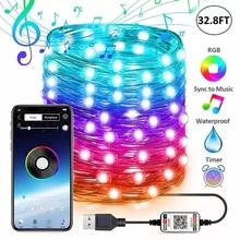 RGB Colorful Bluetooth String Light LED Lights For Room Ceiling Lights Outdoor Lighting Pendant Lights For Bar Lighting Decor cheap FENGRISE FAIRY CN(Origin) XS0087 110V Beads