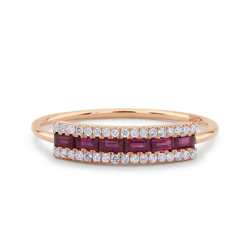 Persegi Kubik Zirkon Mikro Membuka Cincin untuk Wanita Pernikahan Pertunangan Pria Wanita Cincin Pesta Perhiasan Mawar Emas DBR157