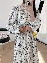Primavera nova manga longa saia platycodon branco vestido floral saia longa