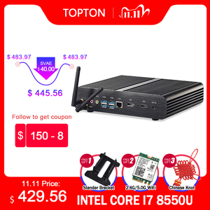 Intel Core I7 10510U 10710U Fanless Mini PC Comet Lake 64GB DDR4 M.2 NVME SSD Windows 10 pro Gaming Computer Desktop 4K HDMI DP