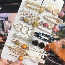 1 ensemble pinces à cheveux en acrylique pour femmes mode géométrique perle Barrettes épingles à cheveux chapeaux cheveux accessoires fille bijoux