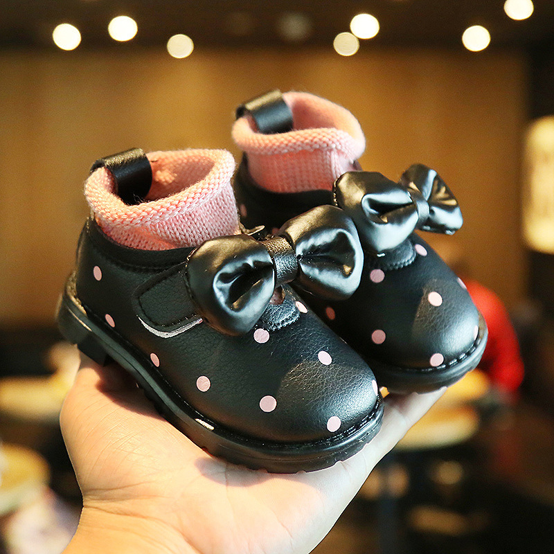 Winter Girls Boots Children Baby Toddler Shoes Bow Baby Snow Boots Leather  Newborn Baby Warm Shoes