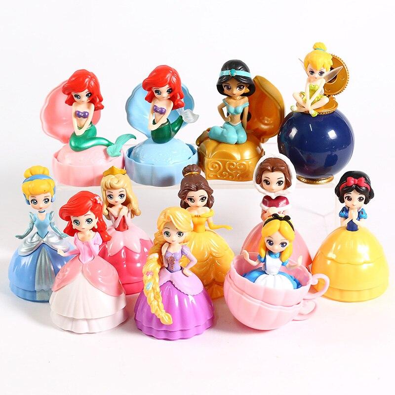 Image 4 - Princesa Brinquedo Bola Flor Fada Sereia Sino Cinderela Princesa Boneca PVC Action Figure toy Collectible Modelo Toy 12 pçs/setFiguras de ação   -