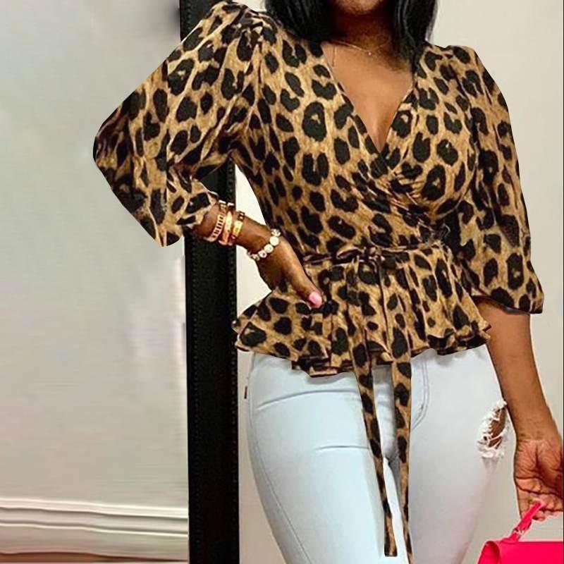 Celmia Women Blouses 5XL Elegant Office Tunic Shirt Sexy Deep V Neck Leopard Print Belted Fashion Tops Ruffles Blusas Femininas