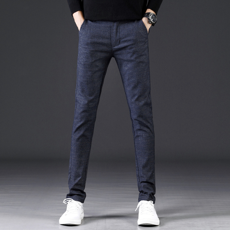 YASUGUOJI Men's Slim Fit Leisure Suit Pants High Quality Men Dress Pants Silk Trousers Straight Business Mens Formal Pants