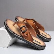 Новинка года; Летние Стильные мужские вьетнамки в Корейском стиле; модные повседневные сандалии из натуральной кожи; мужские шлепанцы