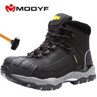 LARNMERN Men's Work Safety Boots Breathable Construction Protective Footwear Steel Toe Anti smashing Non slip Sand proof Shoes