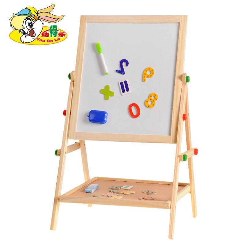 Wipable enduit enfants planche à dessin chevalet en bois massif magnétique peint WordPad Double face hauteur réglable planche à dessin
