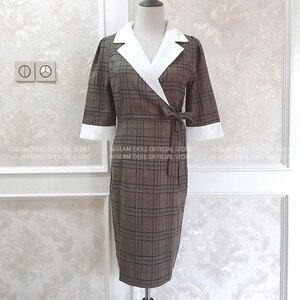 Image 4 - סתיו מחורצים בציר משובץ Vestidos Bowknot חצי שרוול באורך הברך Bodycon עיפרון משרד עבודת בד שמלה