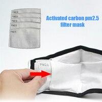 20 pçs 5 camadas pm2.5 máscara filtro de papel ativado carbono à prova poeira máscaras boca anti poeira reenchimento máscara filtro