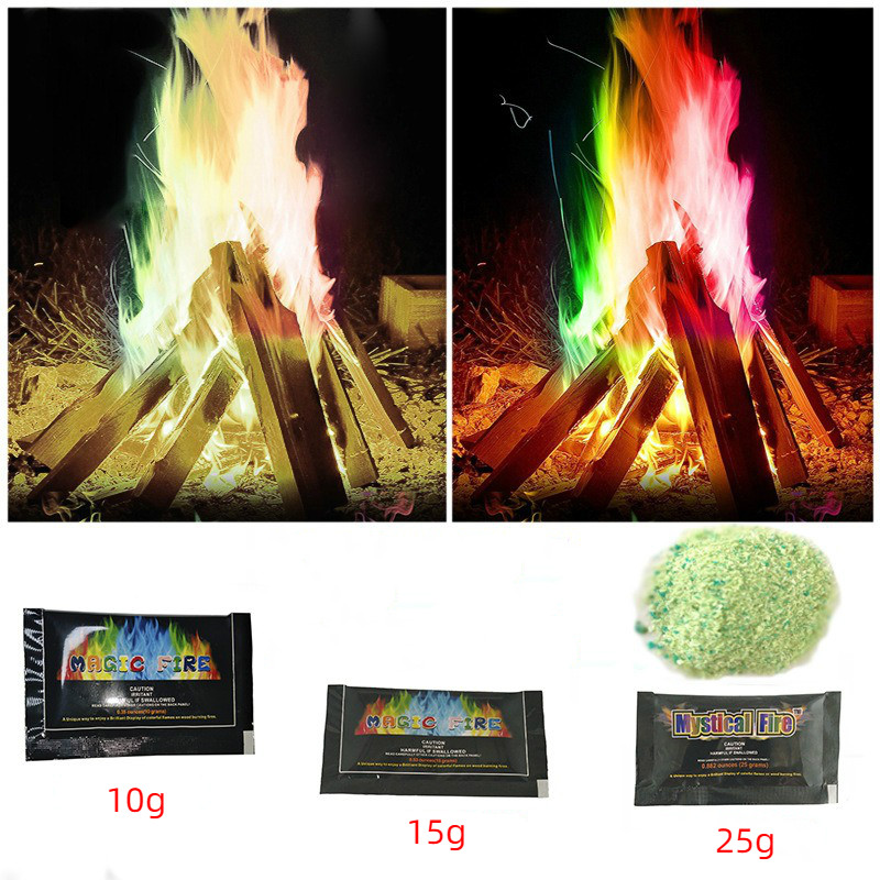 Mystical Fire Improved Version Colorful Fire Flame Bonfire Sachets Fireplace Pit Patio Toy Professional Illusion Pyrotechnics