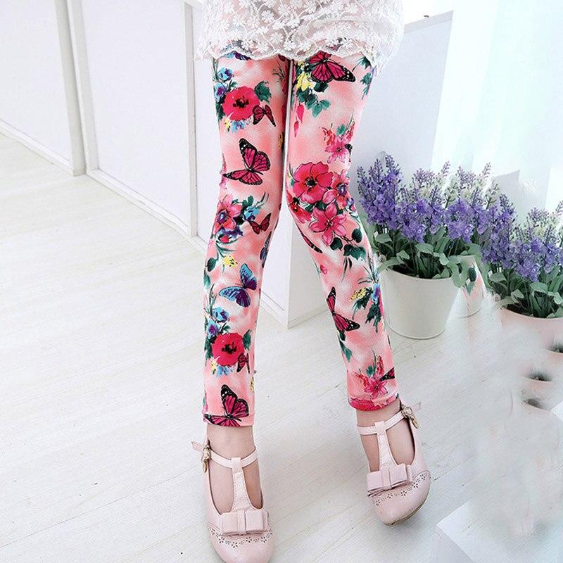 Casual Cute Kids Baby Girls Children Trousers Flower Print Leggings Pencil Pants