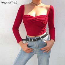 цены WannaThis Casual  Women V-Neck Shirt Irregular Criss Cross Long Sleeve Cotton Crop Top Solid Ribbed Knitted Autumn Winter Blouse