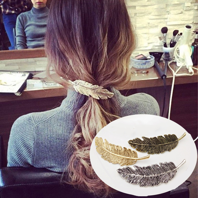 Vintage Metal Feather Hair Clips Barrettes Girls Headbands Hair Ornaments For Women Fashion Hairpin Ponytail Hair Accessories