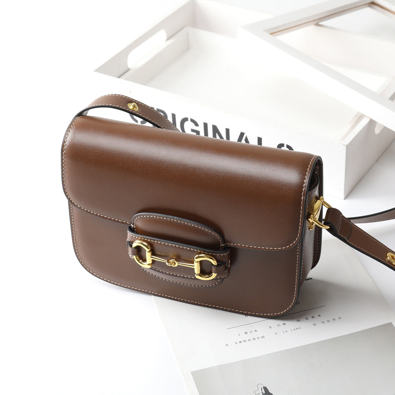 High Quality Saddle WOMEN'S Bag Genuine Leather 1955 Horsebit Buckle Square Bag 2020 New Style Online Celebrity Celebrity Style