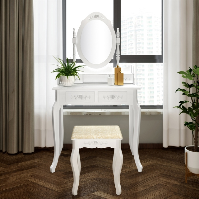 Modern Concise 4 Drawer Dressing Table, 360 Degree Rotation Pull-out Mirror, White Dressing Table with Stool 6