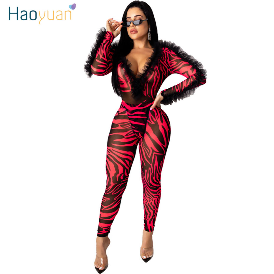 HAOYUAN Sexy Mesh Sheer Two Piece Set Women Rave Festival Clothing Long Sleeve Bodysuit Pant Matching Sets 2 Piece Club Outfits