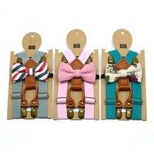 1 предмет, Детские эластичные подтяжки и галстук-бабочка, комплект одежды для мальчиков Детский костюм с галстуком-бабочкой для мальчиков Новинка, регулируемый пояс на лямках для спины