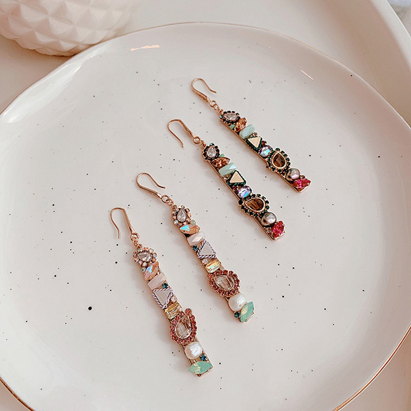 MENGJIQIAO New Design Handmade Luxury Shiny Long Rectangle Crystal Drop Earrings For Women Elegant Pearl Pendientes Jewelry Gift